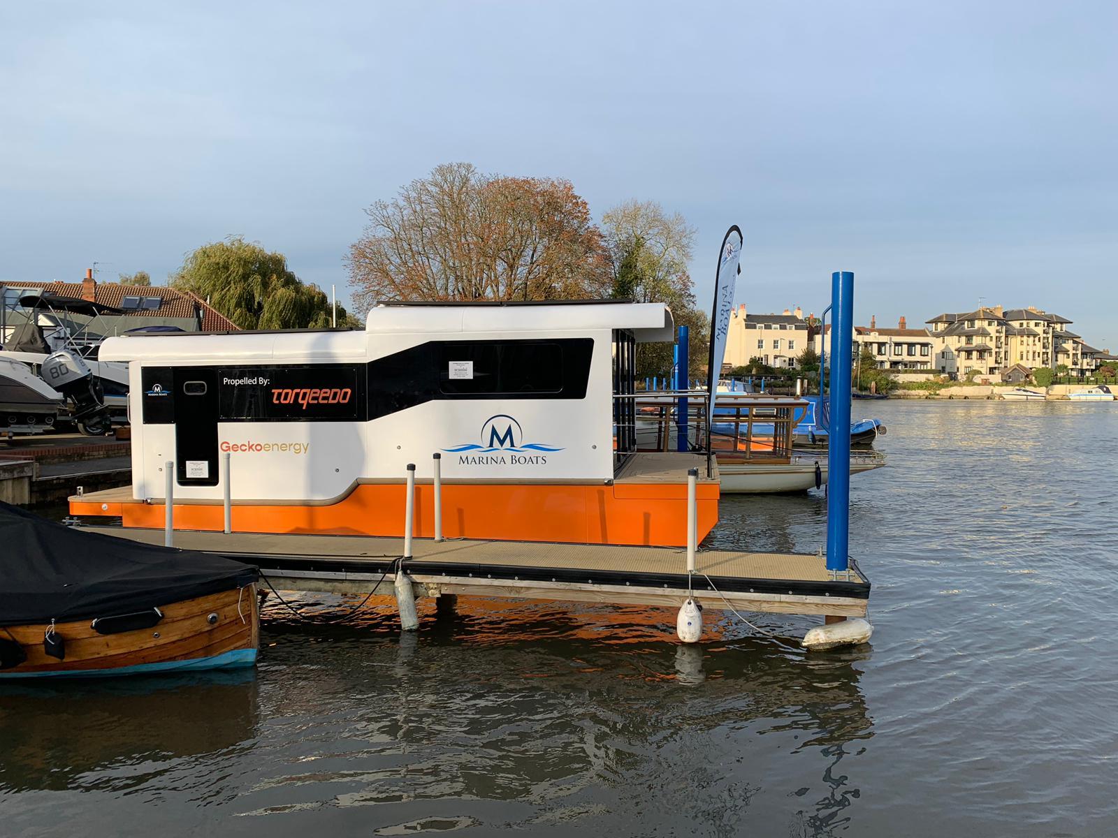 Marina boat moored at Thames Boat House